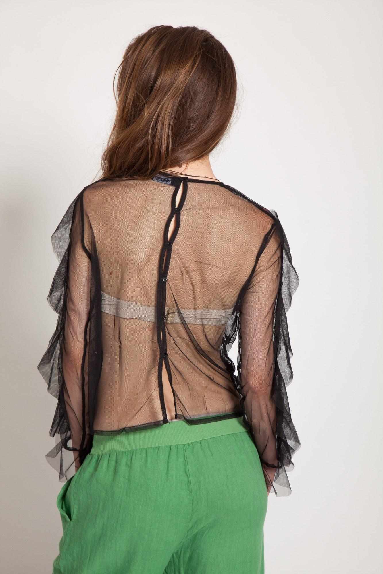 Bluza neagra eleganta Ava brodata