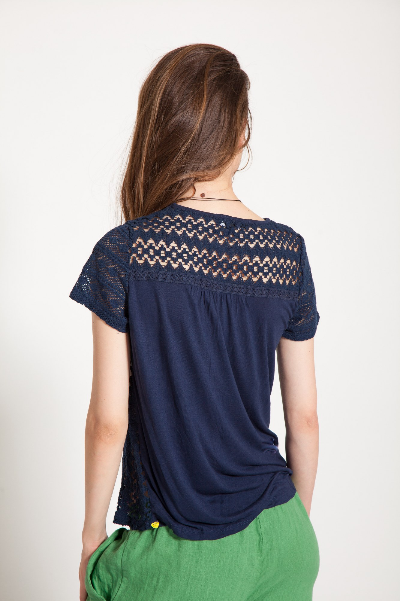 Bluza bleumarin casual Jillo maneca scurta