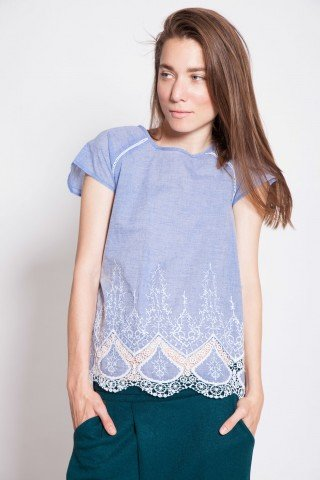 Bluza casual blue Happy brodata