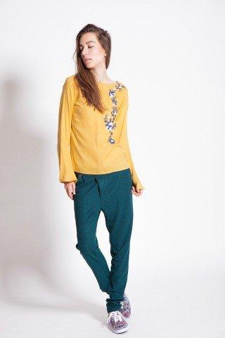 Bluza eleganta galbena Daliana brodata
