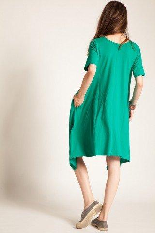 Rochie verde asimetrica cu aplicatii