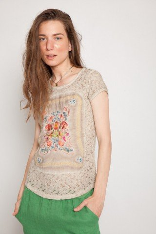 Bluza beige casual Gracy maneca scurta