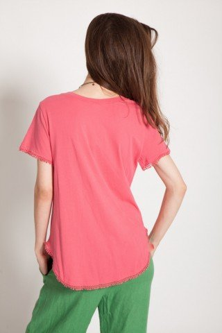 Bluza roz casual Kamiseta cu aplicatii