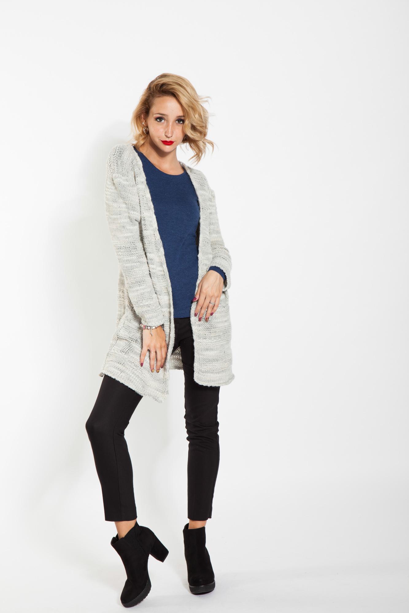 Jacheta gri casual Lena tricotata