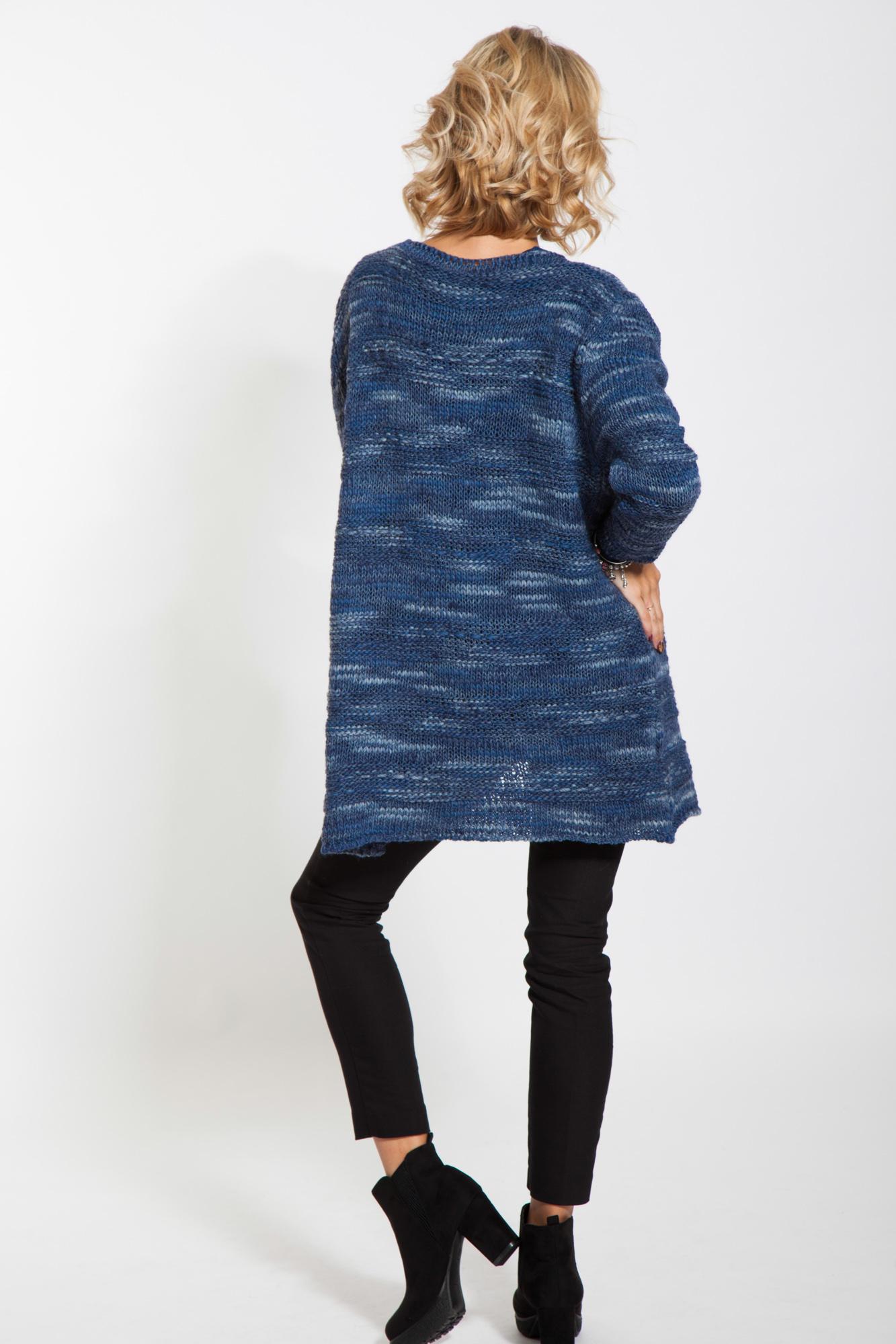 Jacheta albasatru denim casual Lena tricotata