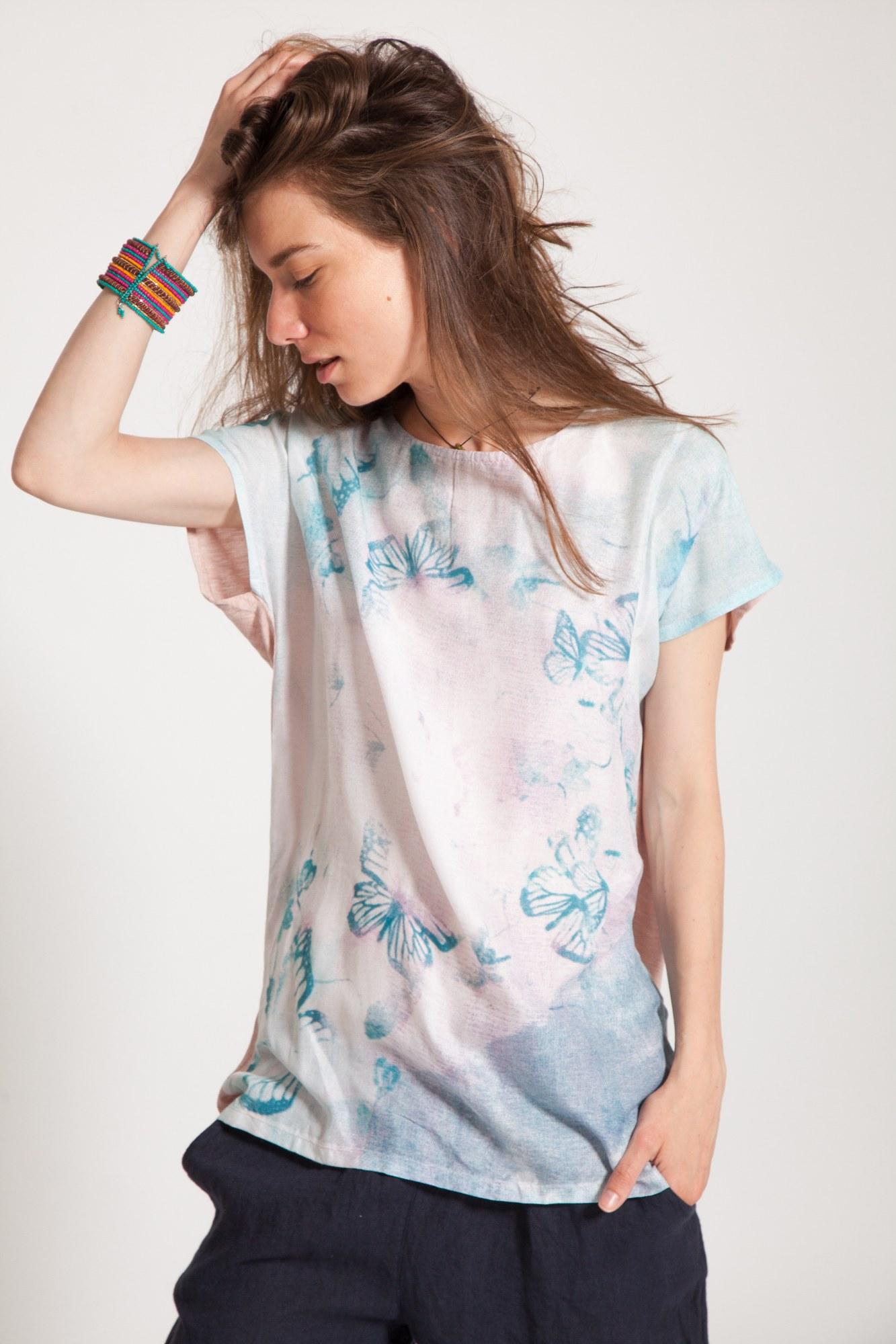 Bluza alba vascoza Butterfly imprimata