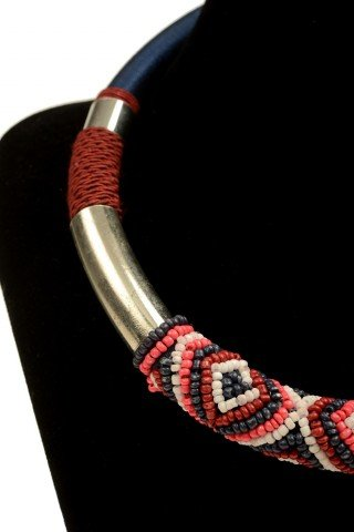 Colier rosu-albastru Tribal