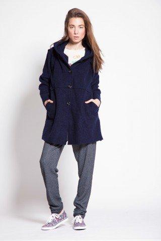 Jacheta bleumarin casual Selna de lana cu nasturi