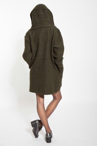 Jacheta kaki casual Selna de lana cu nasturi
