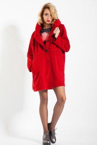 Jacheta rosie casual Selna de lana cu nasturi