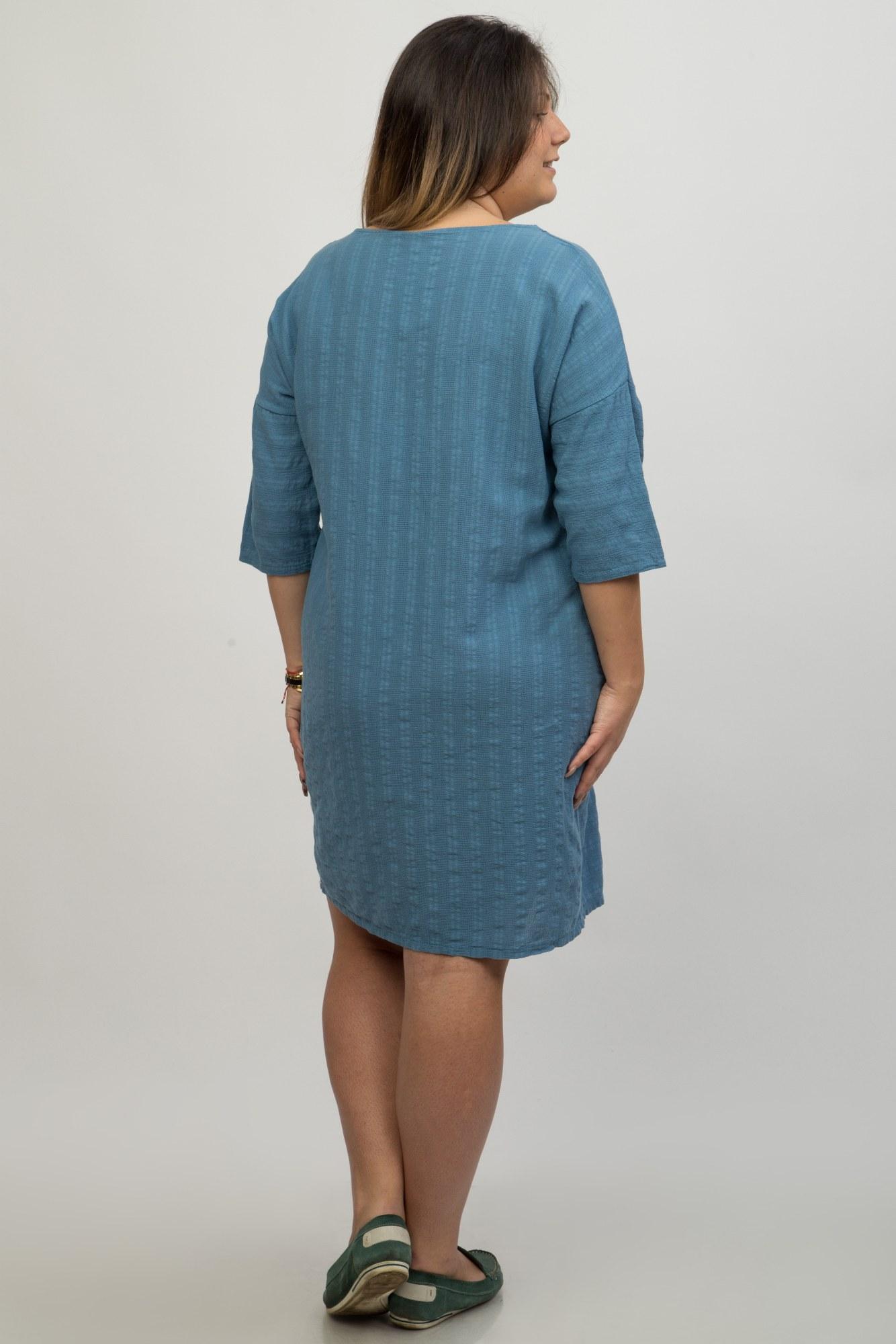 Rochie albastra casual Sydney buzunare aplicate