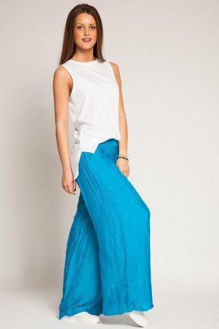 Pantalon bleu ciel din matase