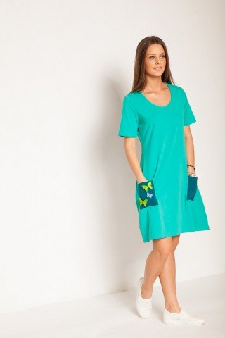 Rochie verde turcoaz cu fluturi