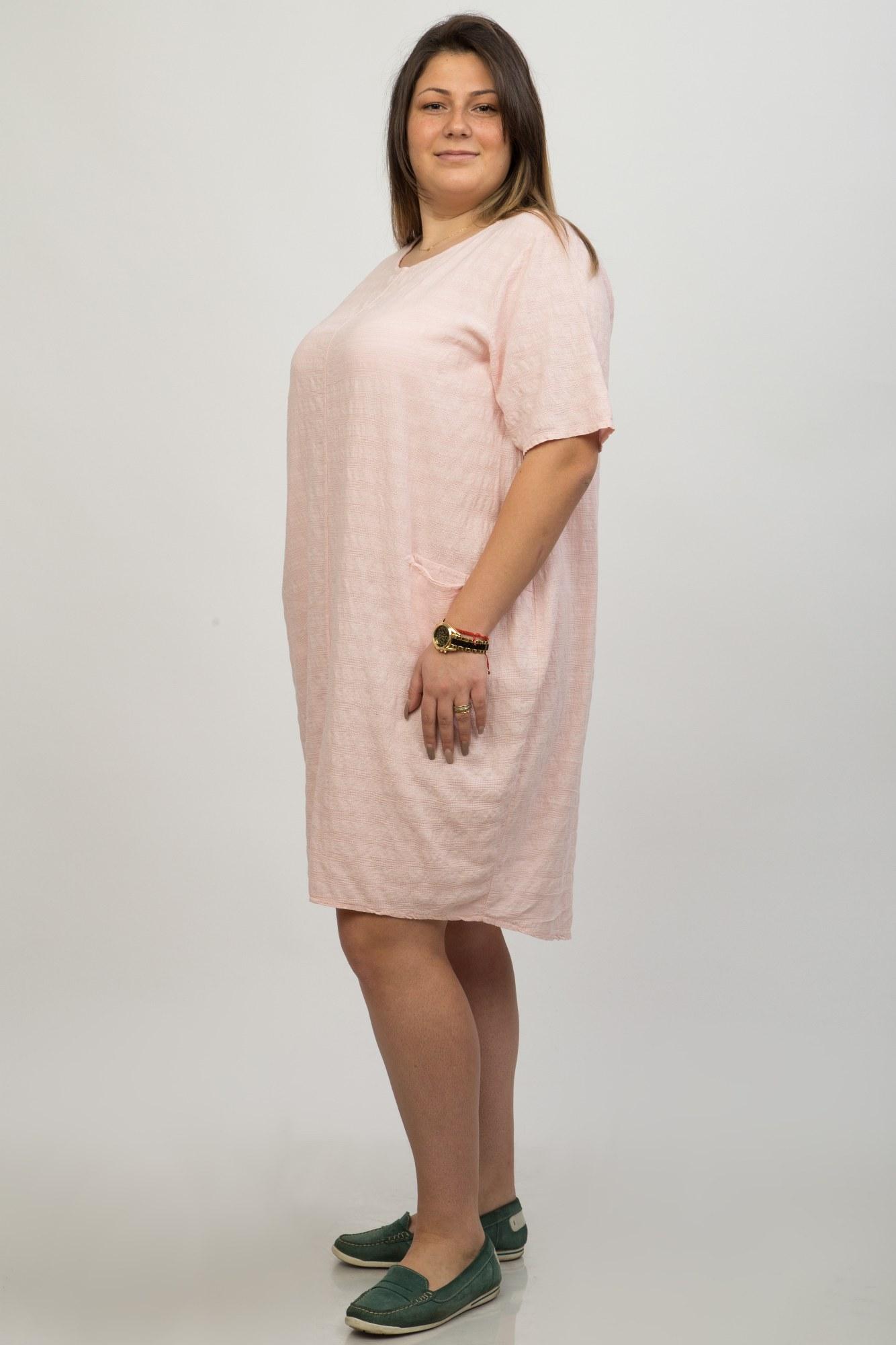 Rochie roz pal casual Raffesia cu buzunare