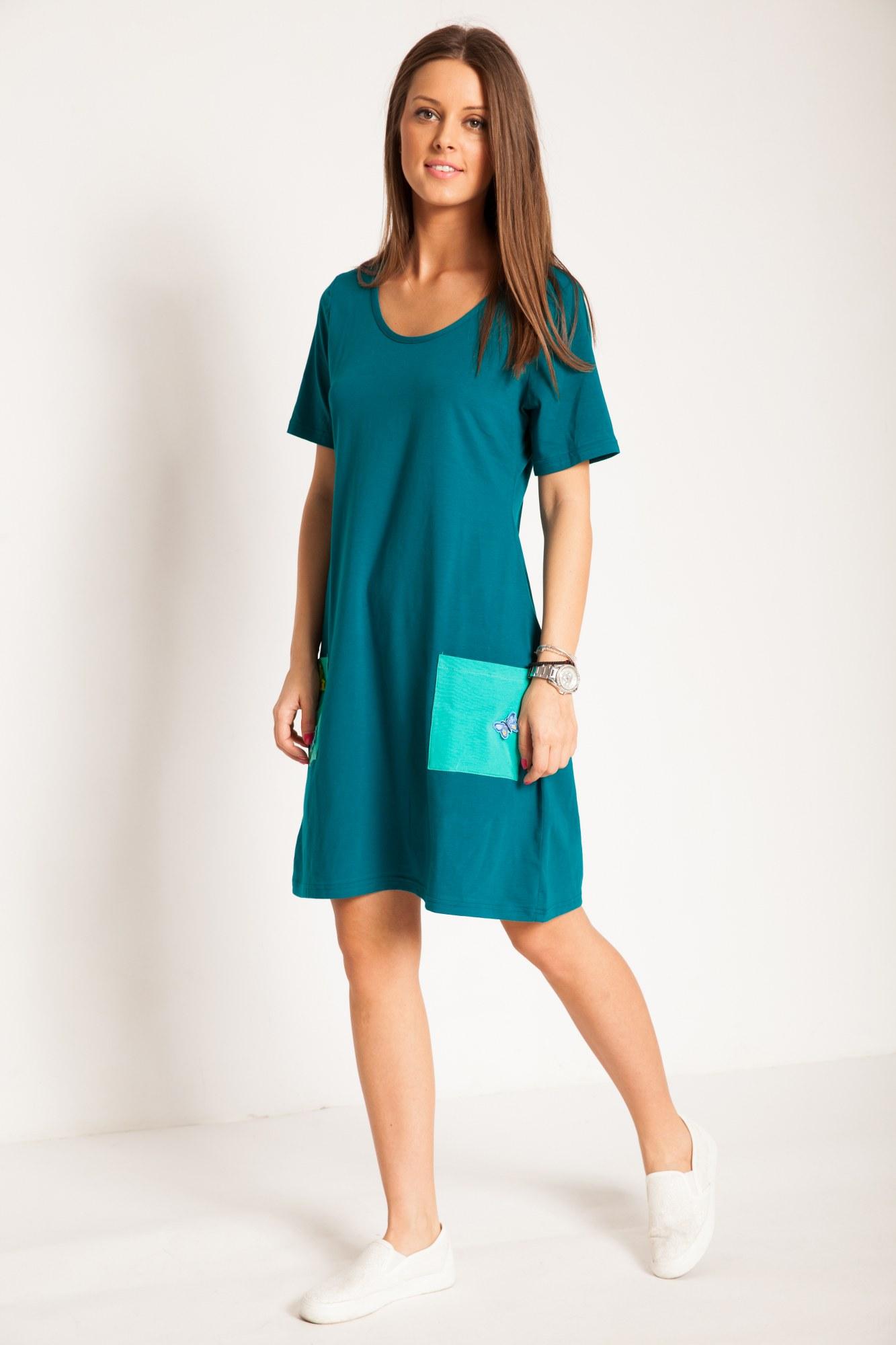 Rochie verde inchis bumbac cu fluturi