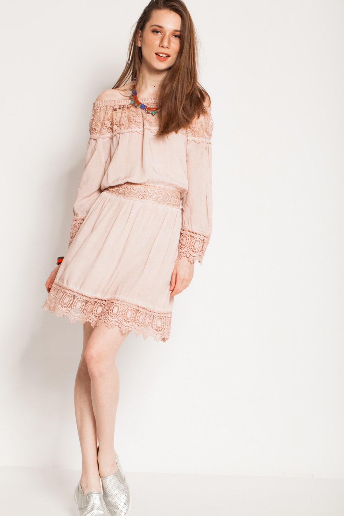 Rochie roz cenusiu eleganta Nisa cu dantela