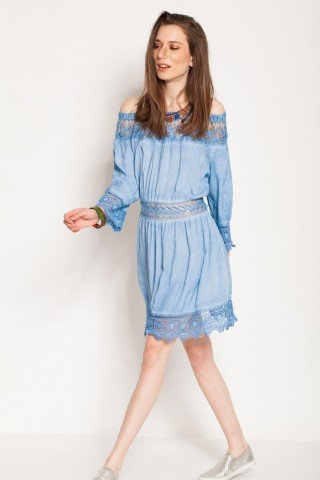 Rochie blue eleganta Nisa cu dantela