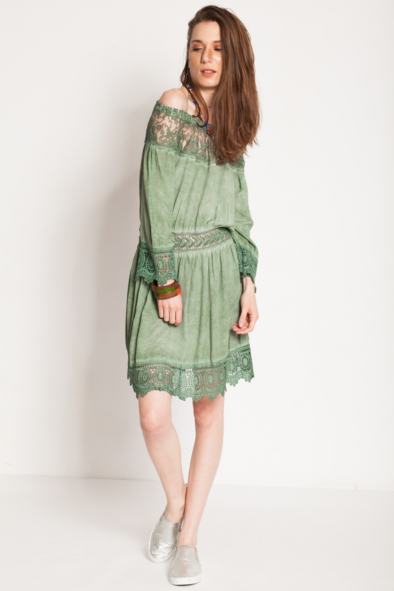 Rochie olive eleganta Nisa cu dantela