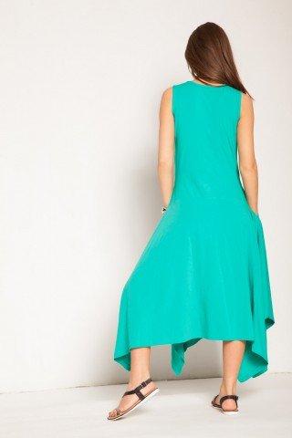 Rochie verde turcoaz bumbac asimetrica