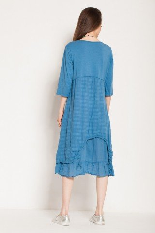 Rochie albastra casual Shiro imprimata