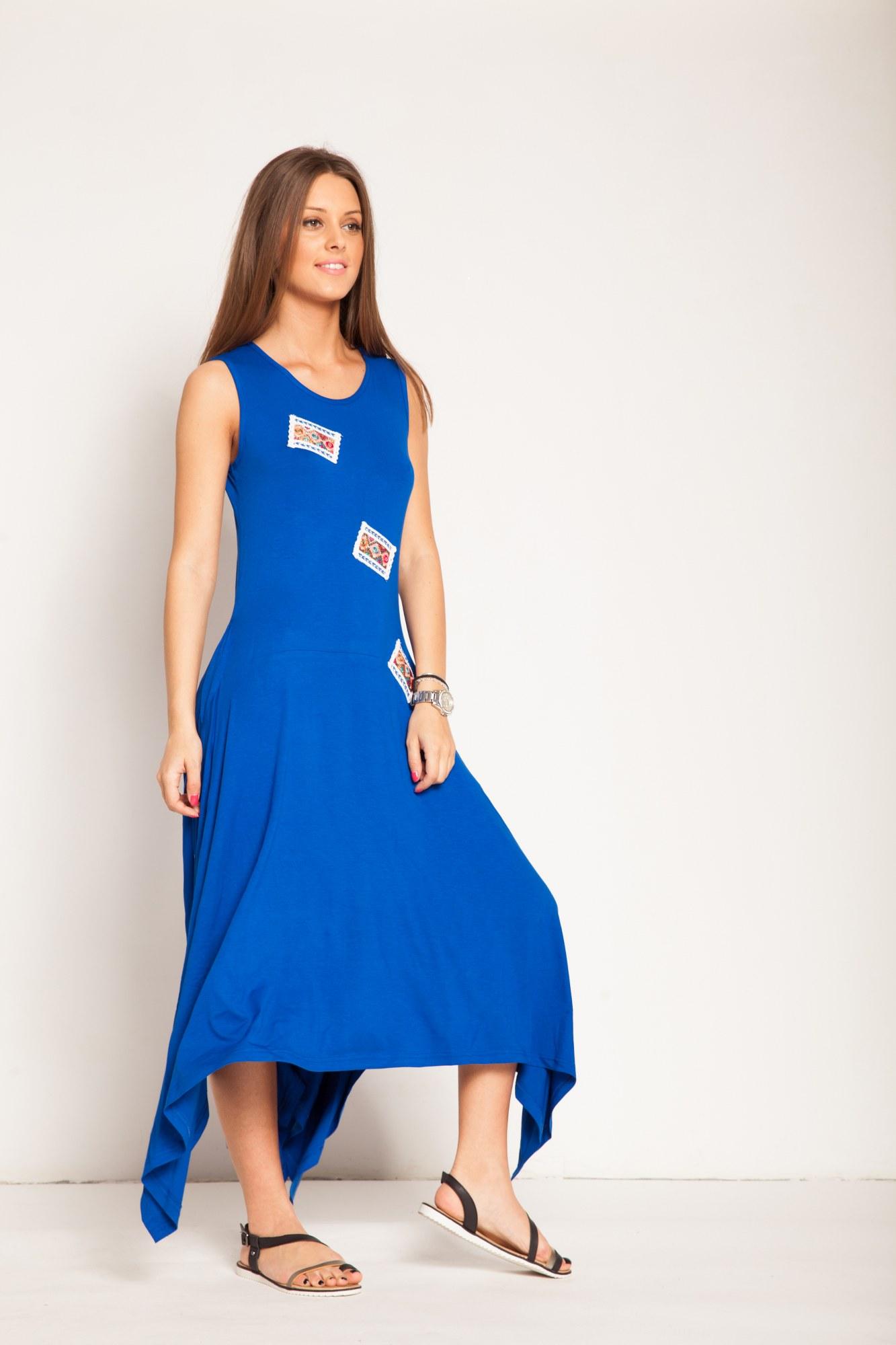 Rochie albastra bumbac aplicatii colorate