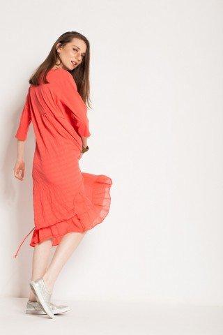 Rochie corai casual Shiro imprimata