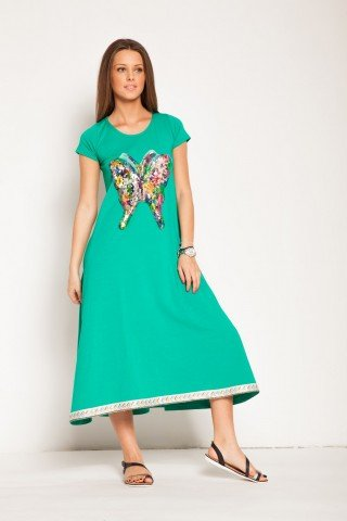 Rochie verde Butterfly bumbac