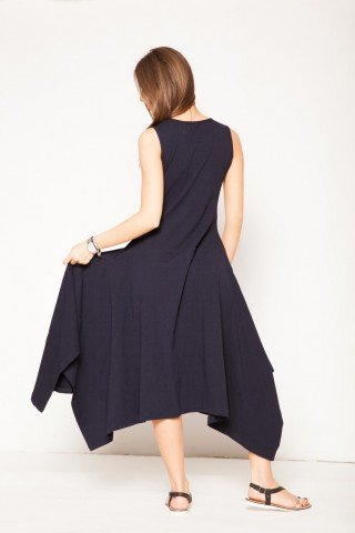 Rochie neagra lunga asimetrica brodata