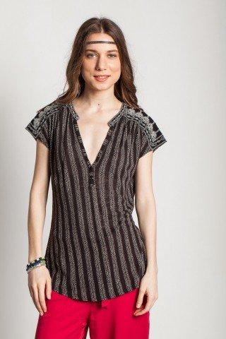 Bluza neagra casual Emia maneca scurta