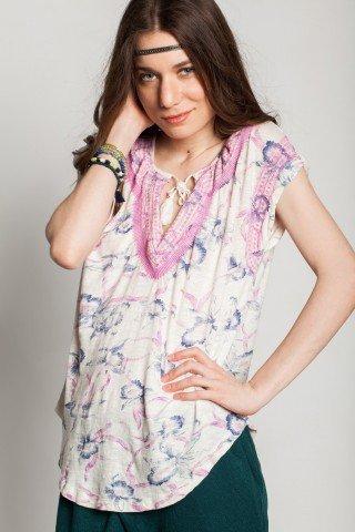 Bluza alba Chameli brodaterie roz