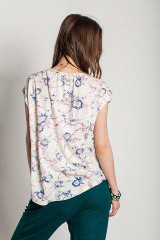 Bluza alba Chameli cu broderie si imprimeu floral