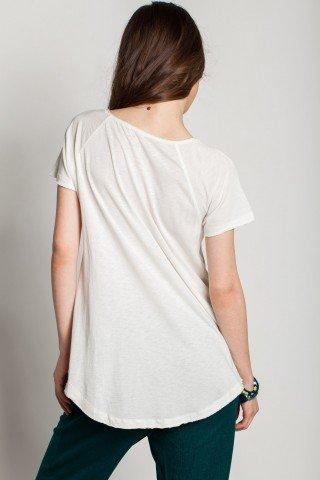 Tricou alb casual Champa imprimeu si aplicatii