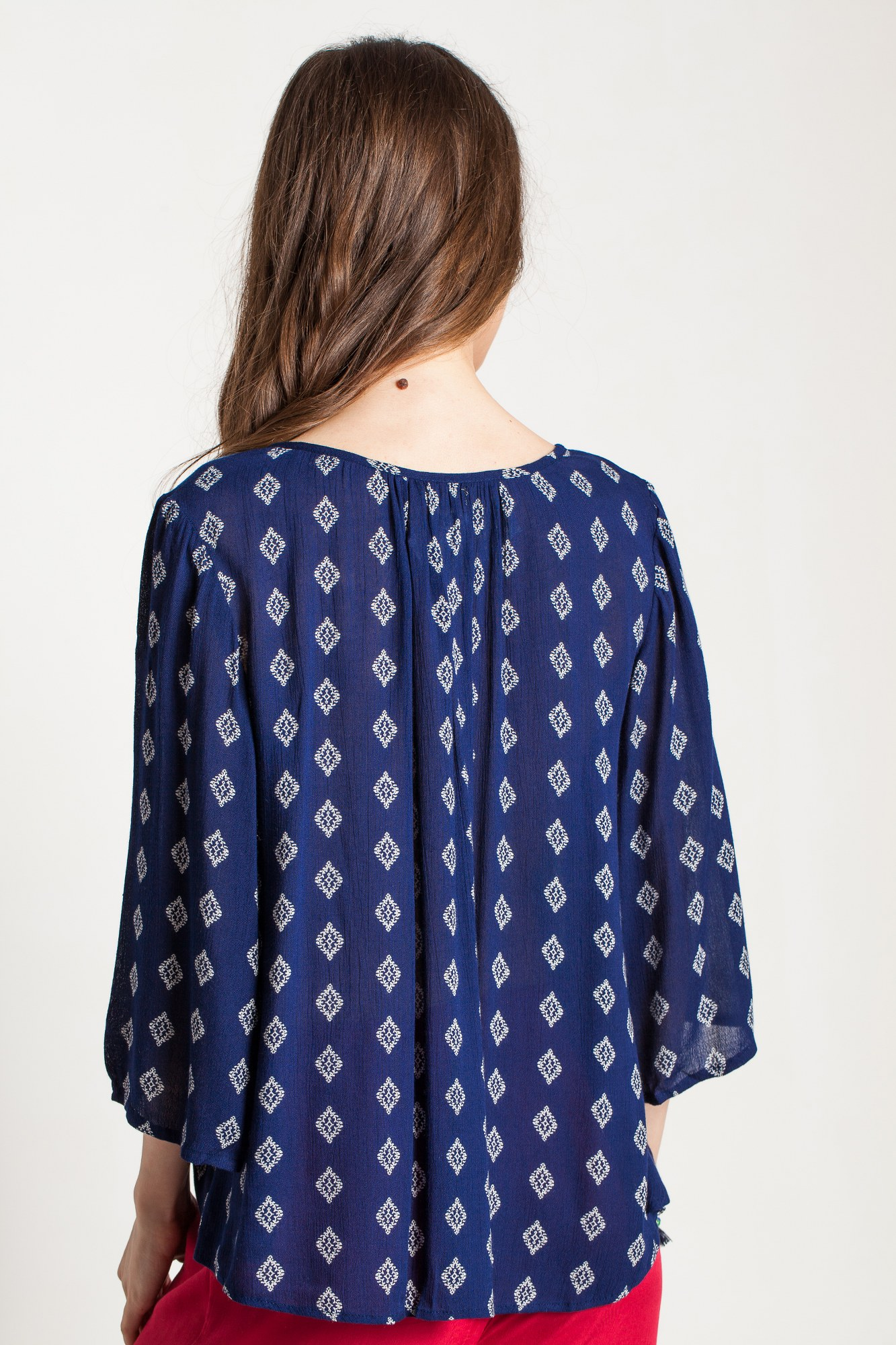 Bluza bleumarin vascoza Ava cu imprimeu