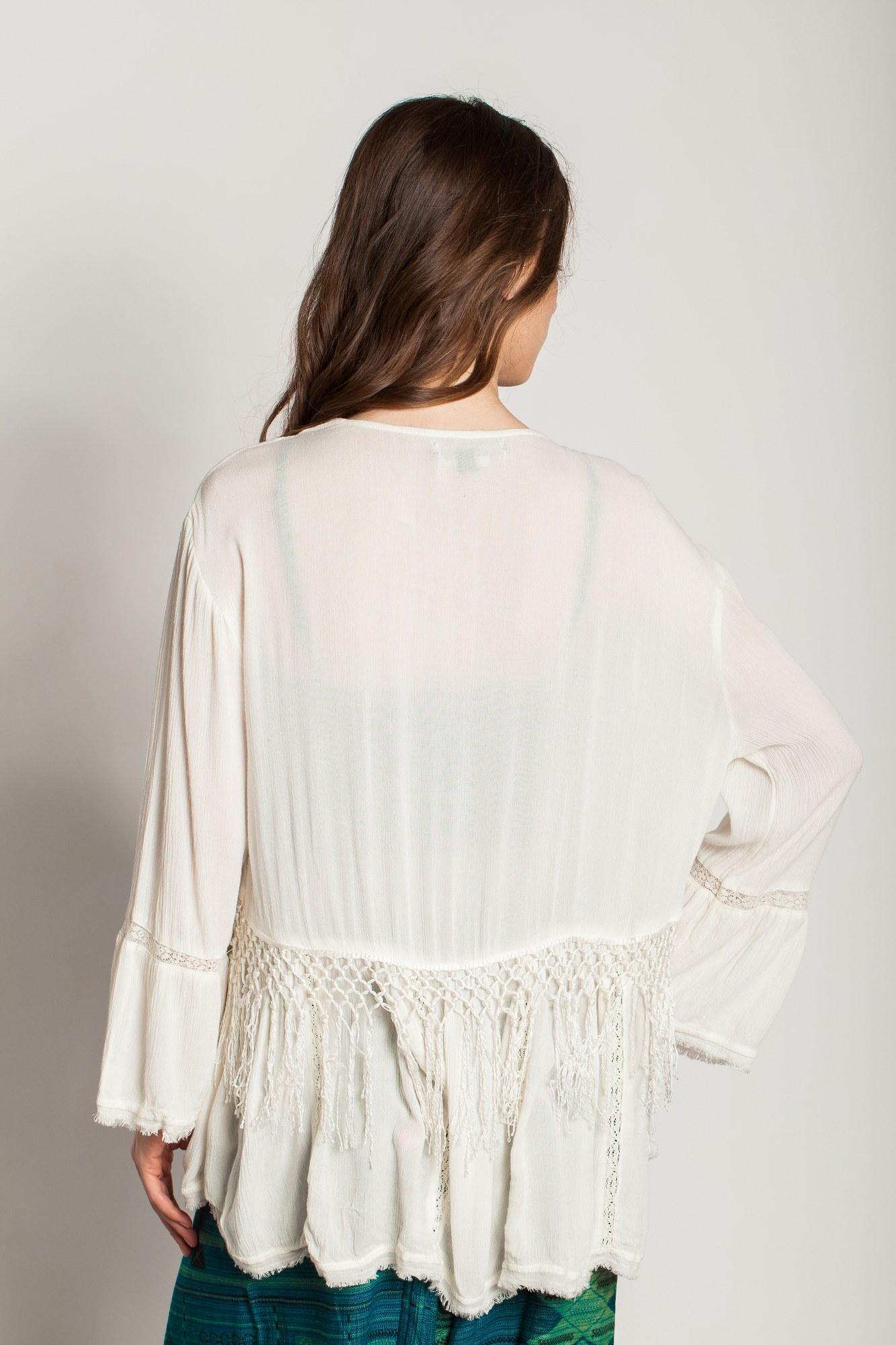Kimono crem vascoza Papaia brodat