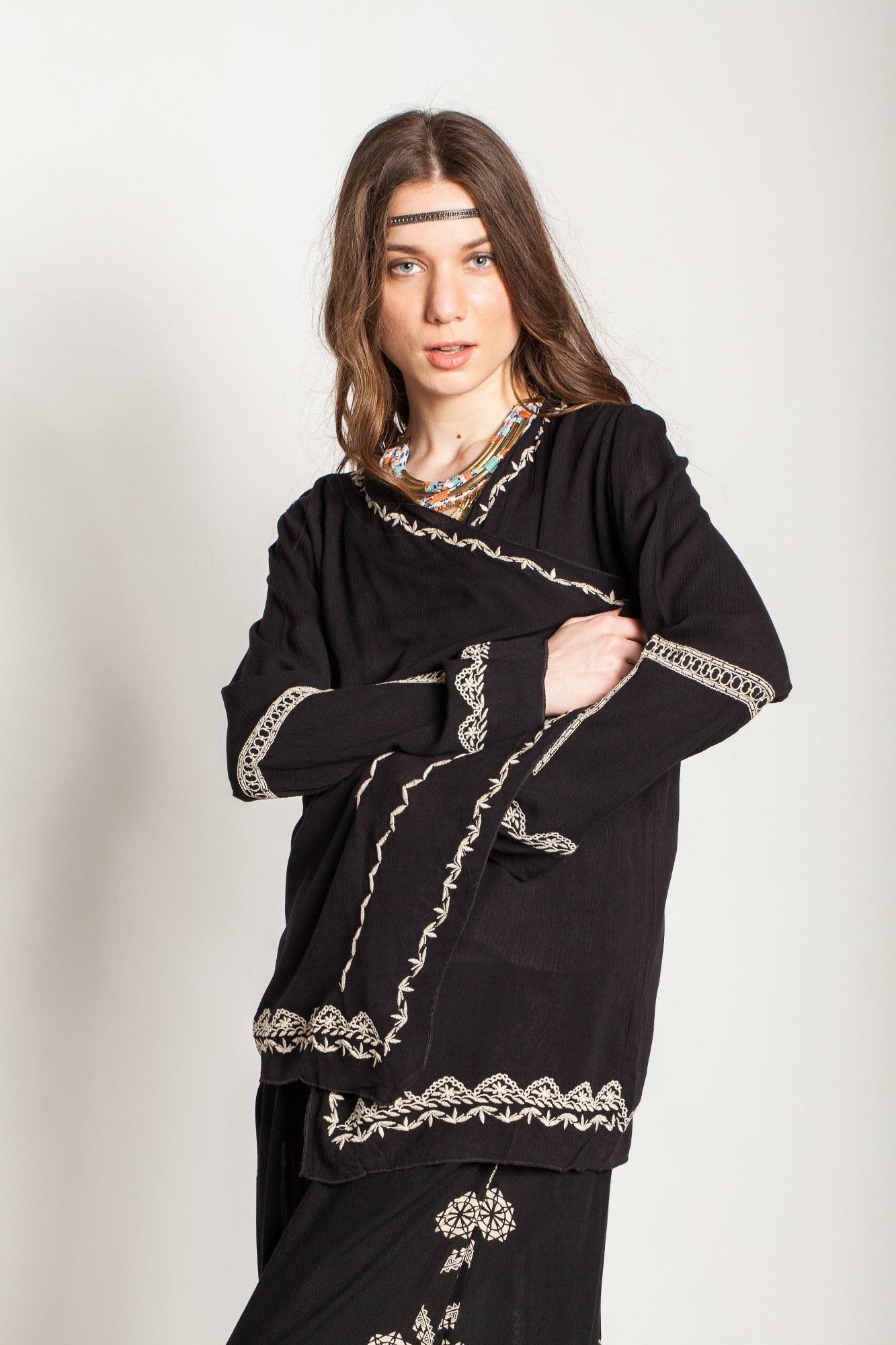 Kimono negru vascoza brodat