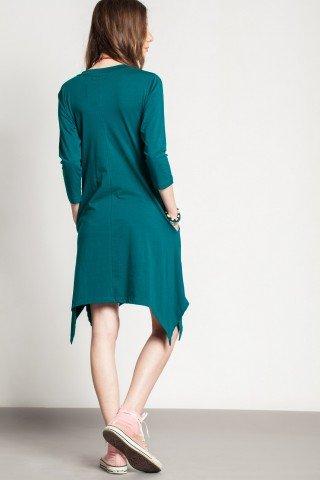Rochie verde casual asimetrica