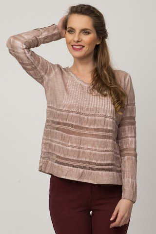 Bluza casual Stone-Wash broderie sparta