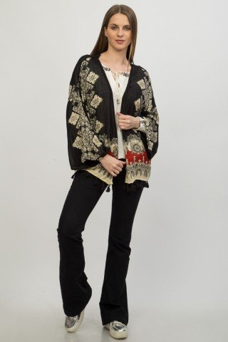 Kimono negru vascoza Kamal imprimat