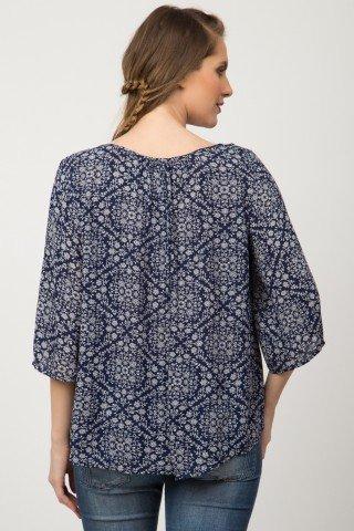 Bluza bleumarin casual Caila cu imprimeu floral