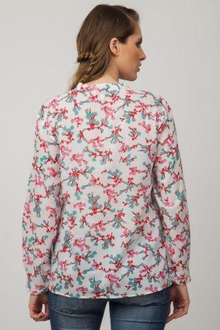 Bluza alba casual Arisia cu imprimeu si broderie