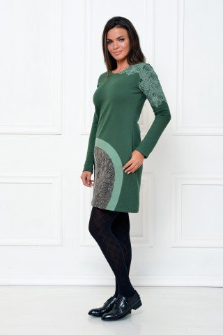 Rochie verde groasa aplicatie cerc