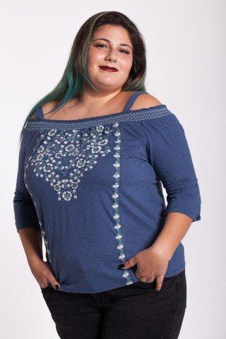 Bluza albastra cu broderie florala Cindy