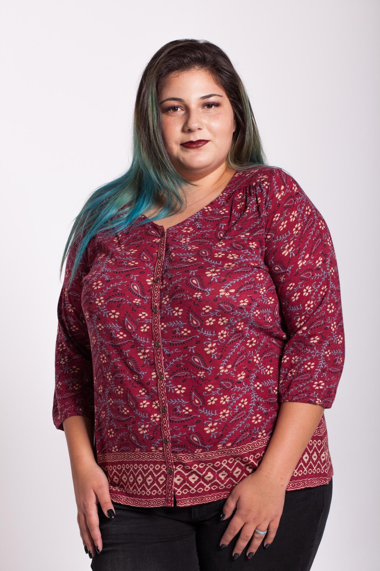 Bluza visinie cu nasturi si imprimeu paisley