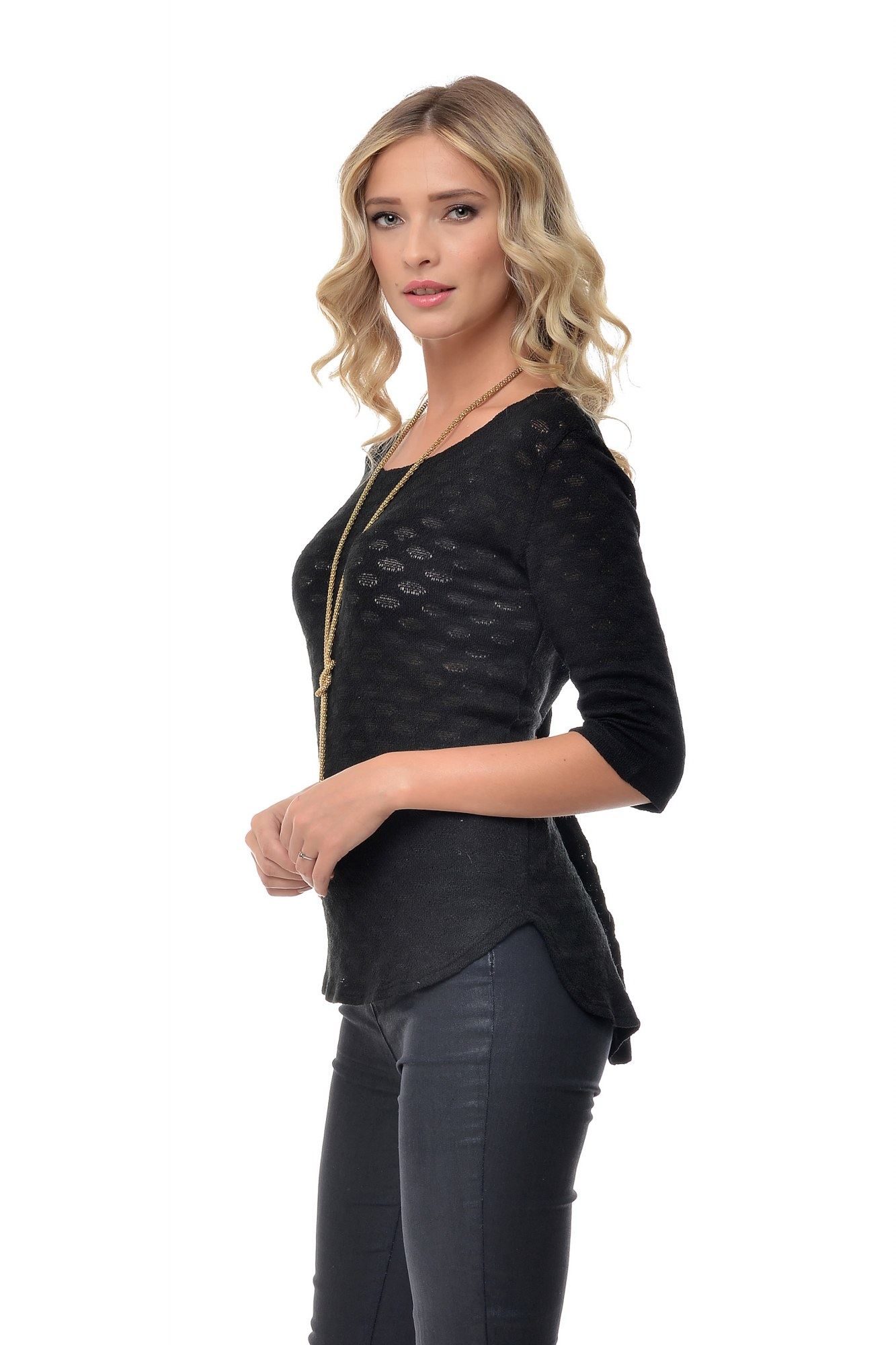 Bluza neagra tricotata Natalee
