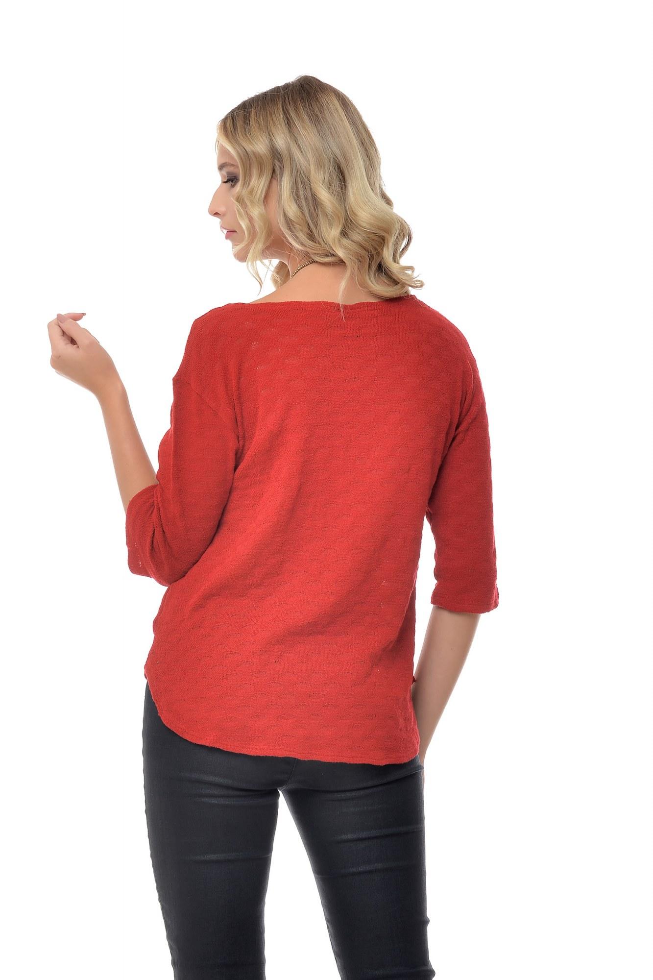 Bluza rosie tricotata Natalee