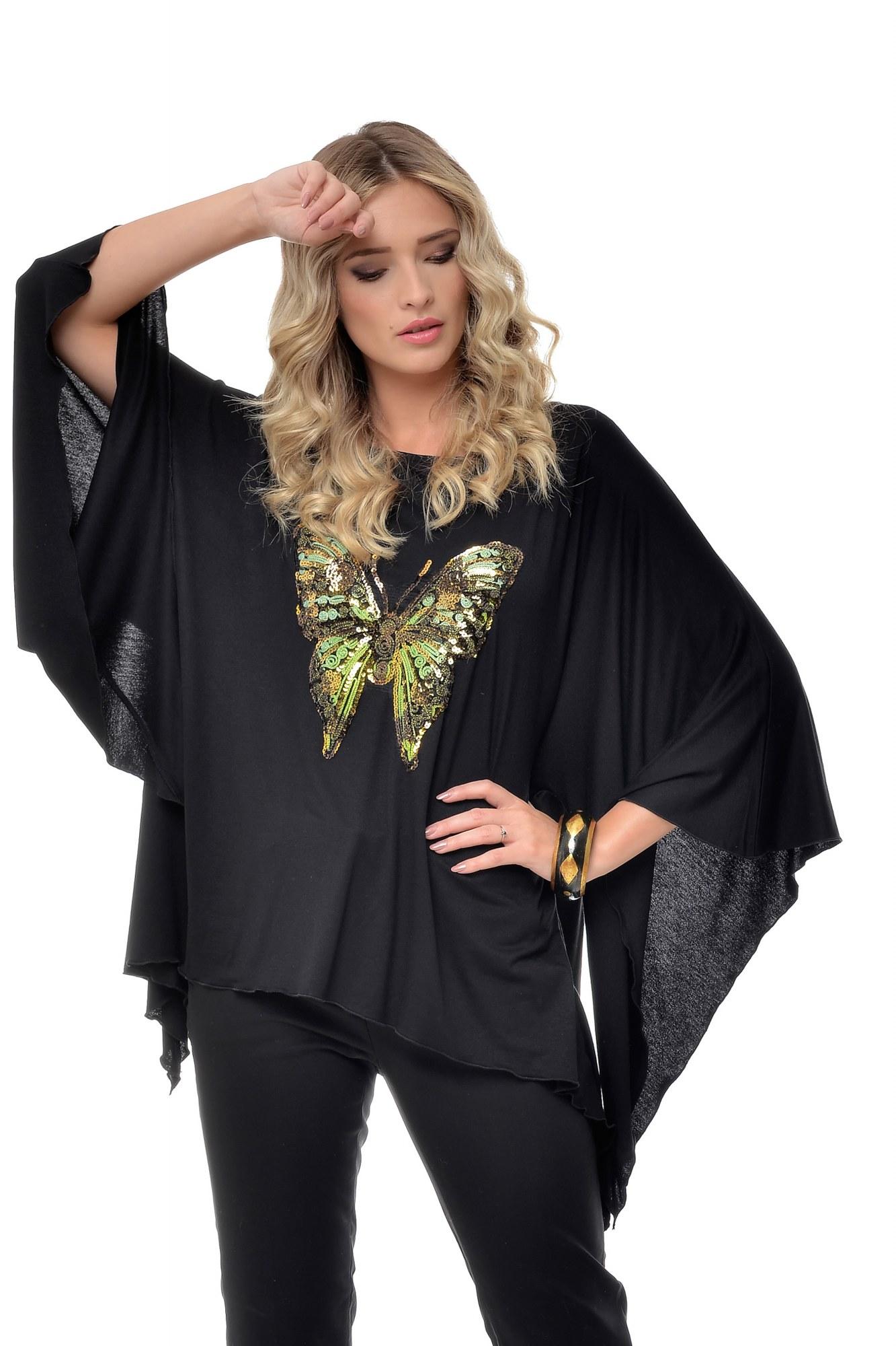 Bluza neagra asimetrica din vascoza cu aplicatie fluture