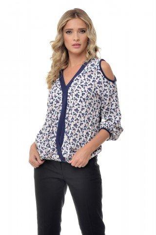 Bluza alba eleganta cu imprimeu bleumarin