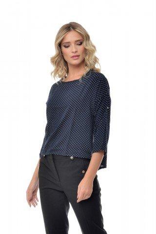 Bluza bleumarin eleganta cu buline