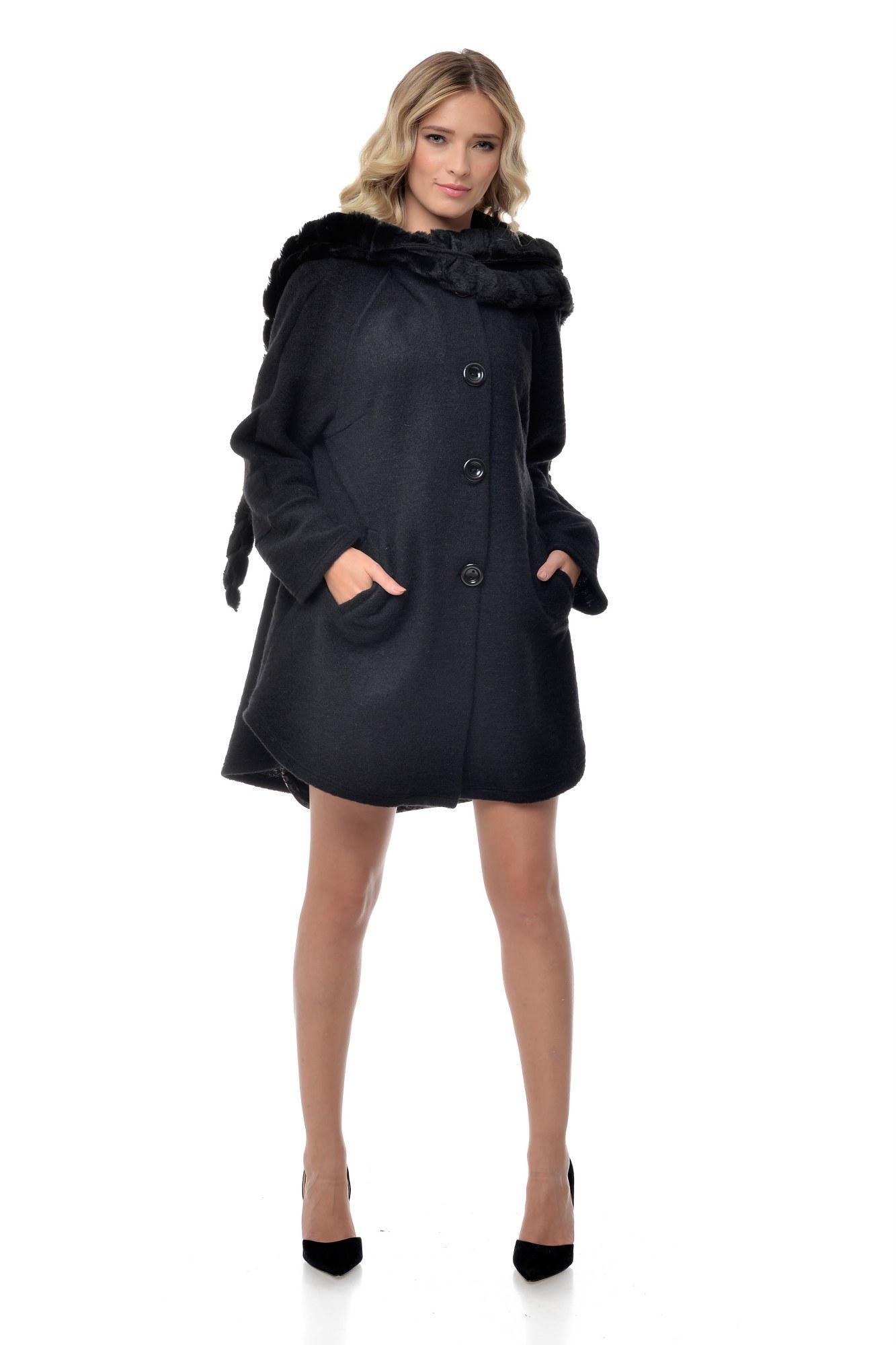Jacheta neagra de lana Natalee