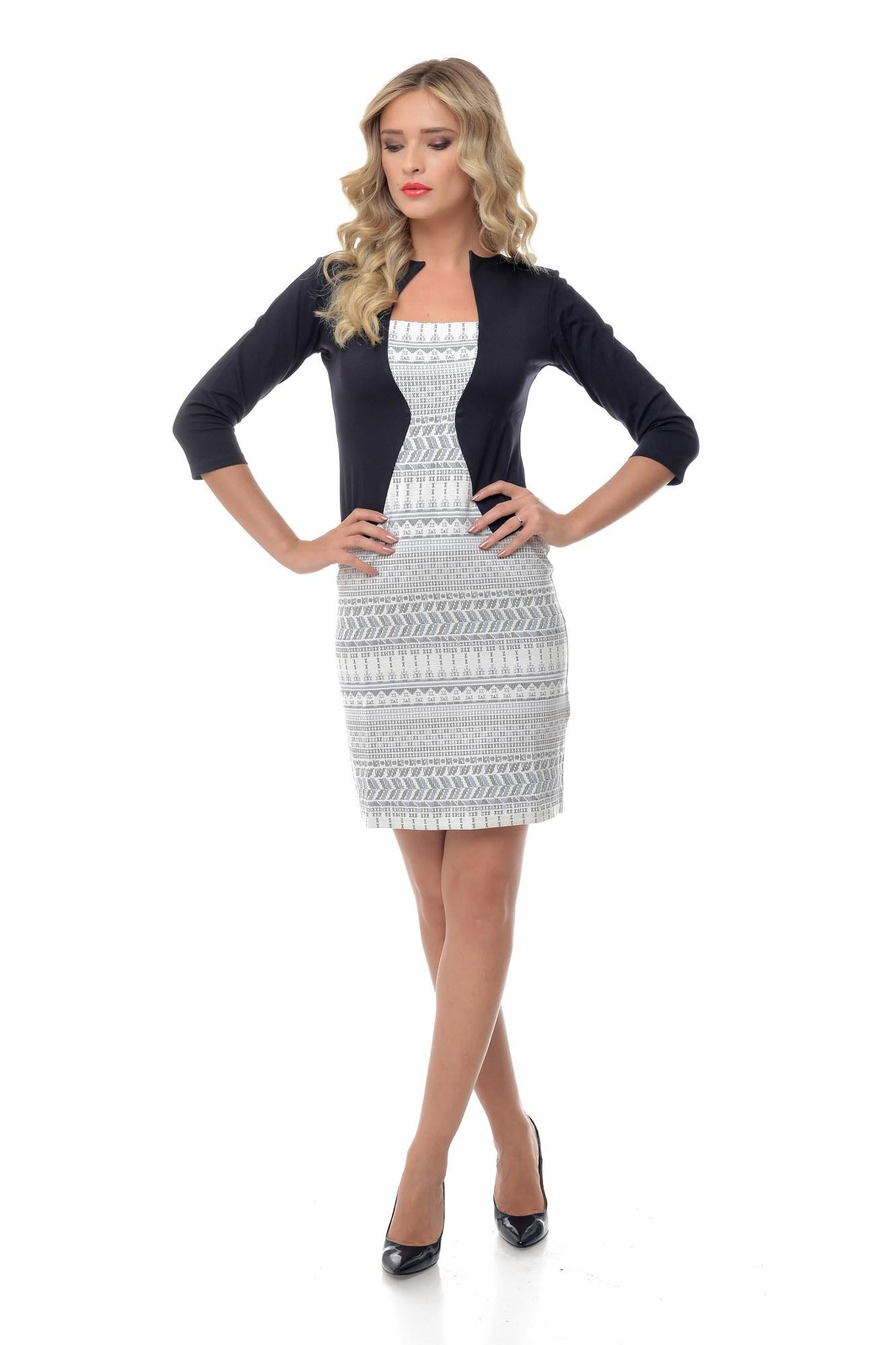 Rochie alb-negru cu imprimeu Natalee